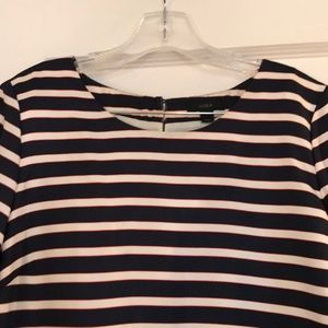 J.Crew silk navy striped dress